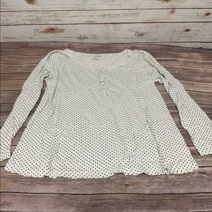 Old Navy White Black Dots Ruffle Henley Top